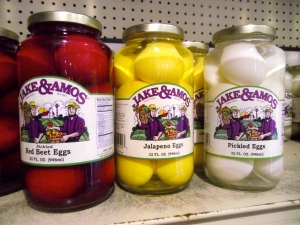 Yikes!  Commercially available pickled eggs!  (These don't seem to be in my local market...)  lol
